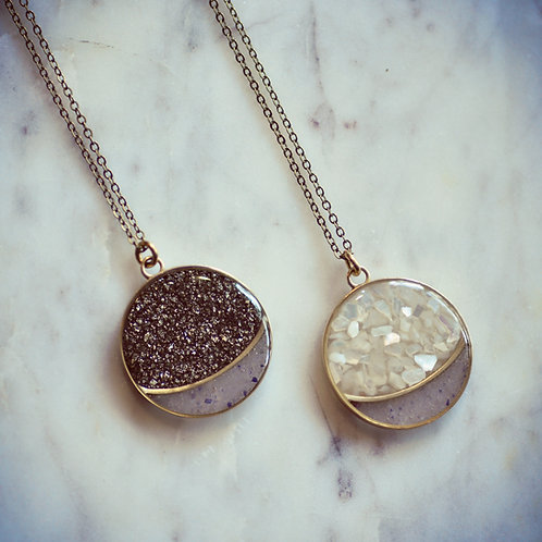 Full Moon Necklace ~ Moonphase ~ Pyrite + Lepidolite or Mother of Pearl