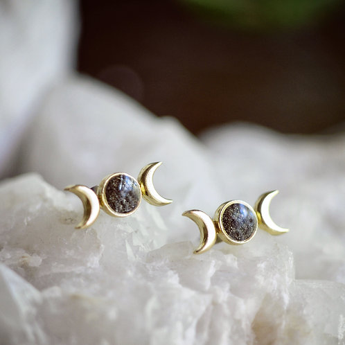 Just a Phase~ Brass and Pyrite Post Earrings