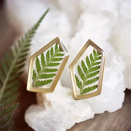 Geometric Fern Post Earrings