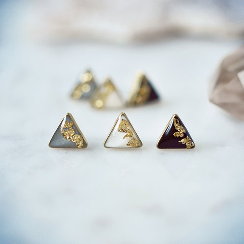Sweet Gold Leaf Accented Triangle Earrings Surgical Steel Posts