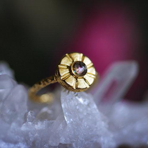 The Retro Flower Ring Adjustable Brass