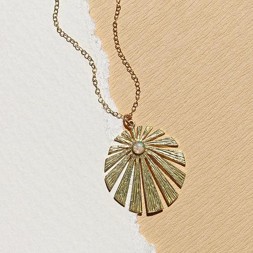 The Kenzi- Round Sunburst Necklace with crushed gems