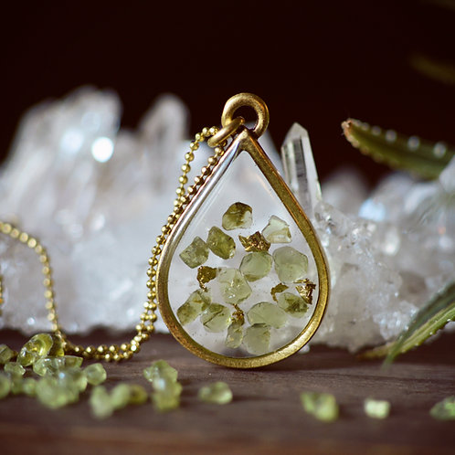 The Bella ~ Large Floating Gemstone Teardrop Necklace