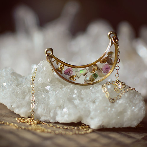 The New Luna ~ floating gemstone moon pendant 14kt gold filled chain