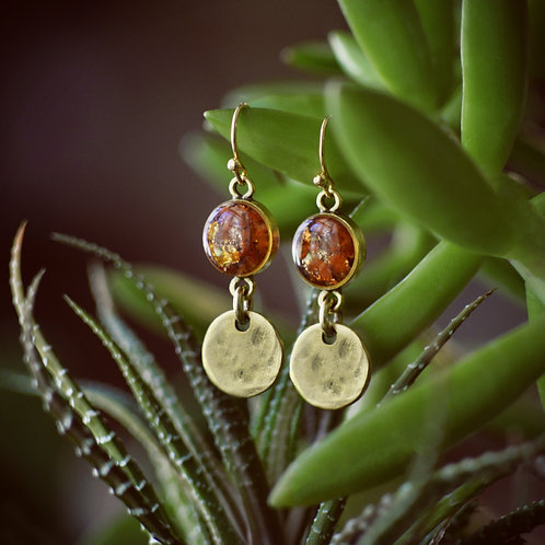 The Cabo Earrings, Crushed Gemstones + Textured Disc Dangle
