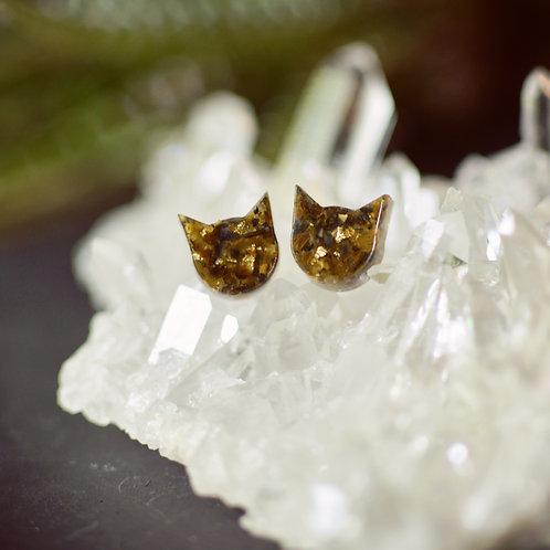 Crushed Gem Cat Earrings