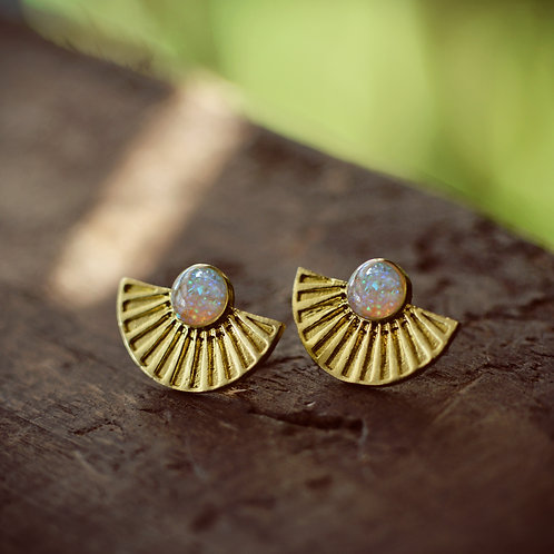 The Sun Ray Post Earrings- Brass with Steel posts