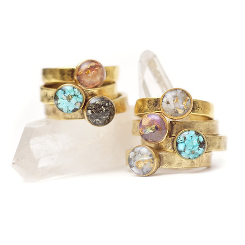 The Stackers~ Hammered Gold Plated Ring w/ Crushed Gemstones and Gold Leaf Flake