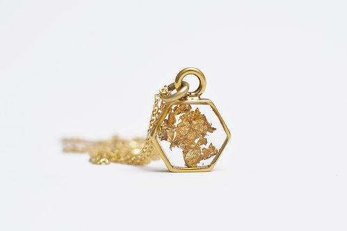 The Hex~ Gold Leaf Hexagon Necklace