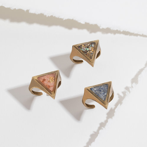 The Taos Ring- Triangle Inlay Adjustable Brass
