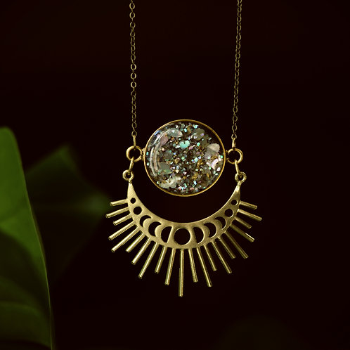 Abalone Moonphase Sunburst Necklace