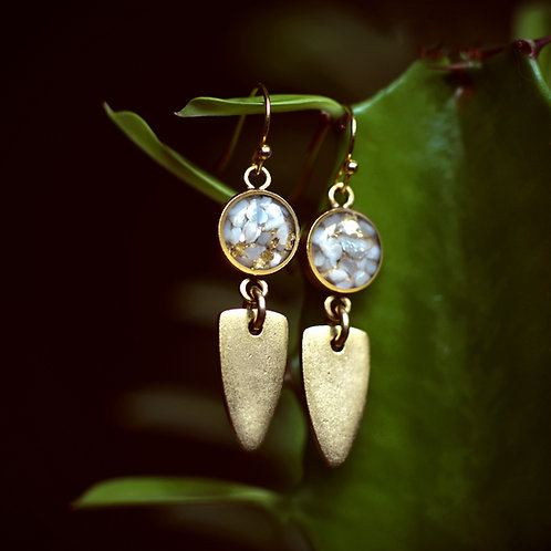 The Maya Earrings~ crushed gemstone shield drops
