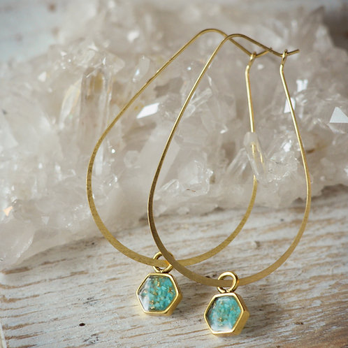 The Heidi Earrings~ Hex Hoops with crushed gem inlay