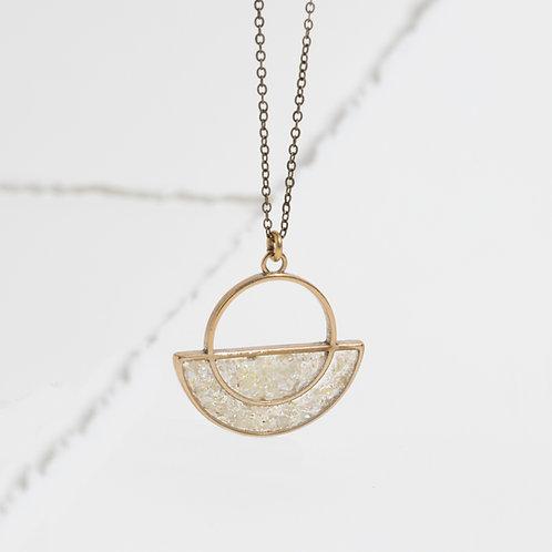The Moonrise Pendant~ crushed gemstone inlay
