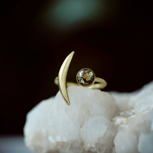 The Slender Moon Ring with crushed gems
