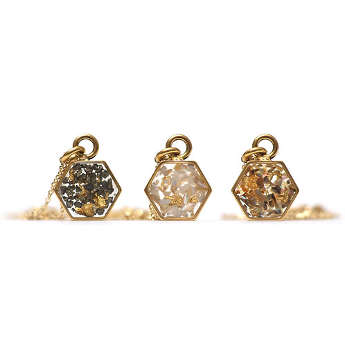 The Hex~ Gemstone and Gold Leaf Flake Hexagon Necklace