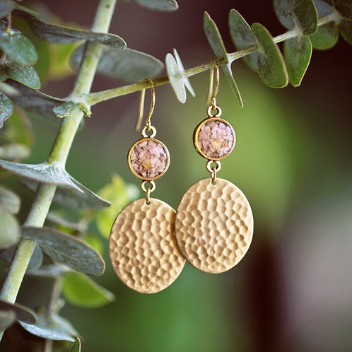 The Mila Earrings- Crushed Gemstones + Textured Oval