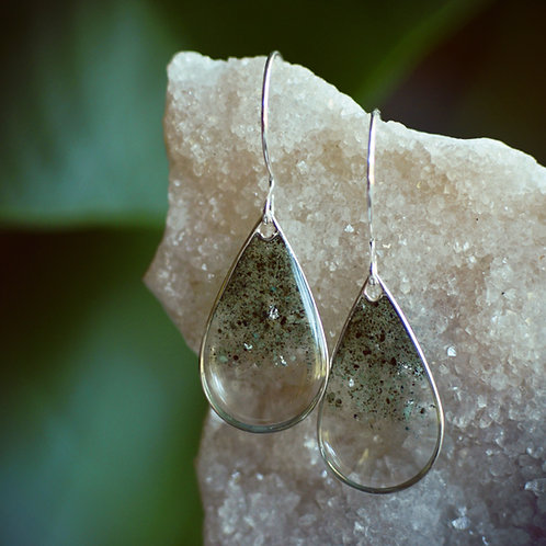 Emerald Raindrops ~ Sterling Silver crushed gemstones