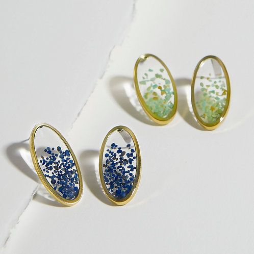 """The Tori Earrings ~ Oval Post with """"floating"""" gems"""