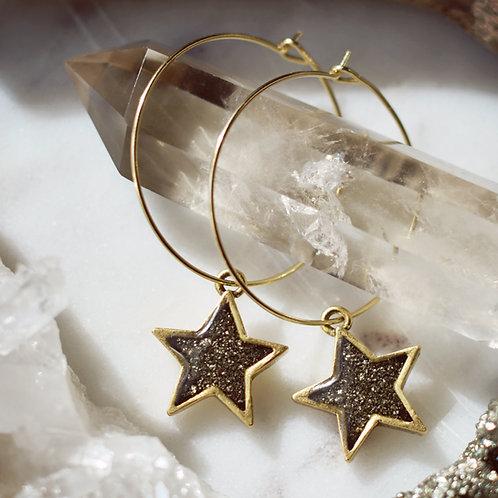 Carina Star Hoops- Crushed Gem Star Earrings