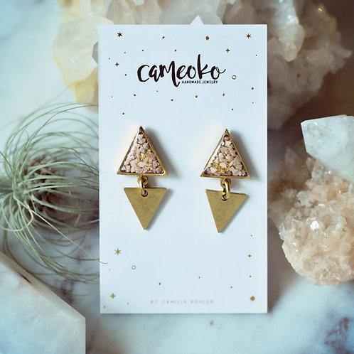 The Lia Earrings- Double Triangle Dangles