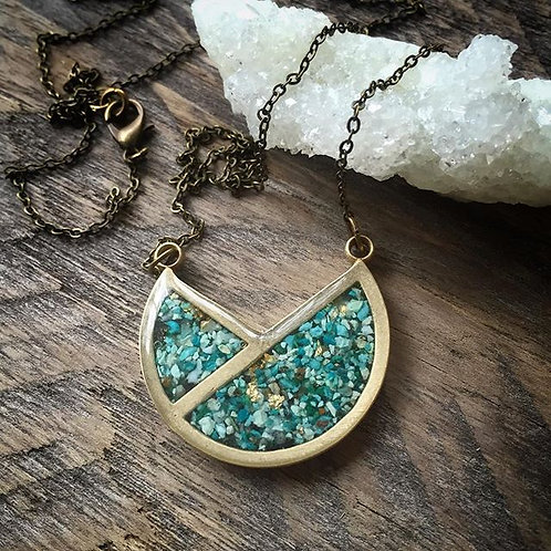 The Tulip Necklace- Geometric Bronze + Crushed Turquoise Inlay