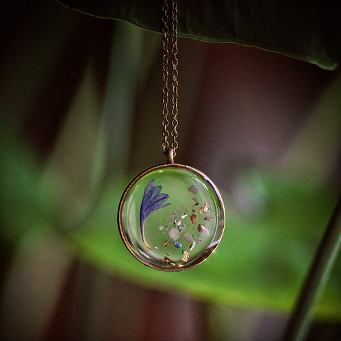 Pressed Cornflower Necklace with Pink Opal, abalone + metallic flakes