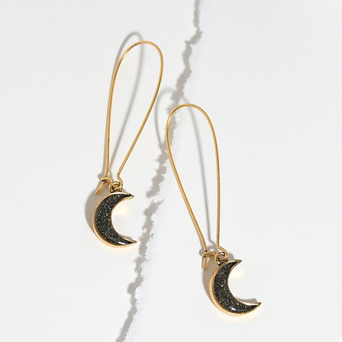 Crushed Gem Large Leverback Moon Earrings