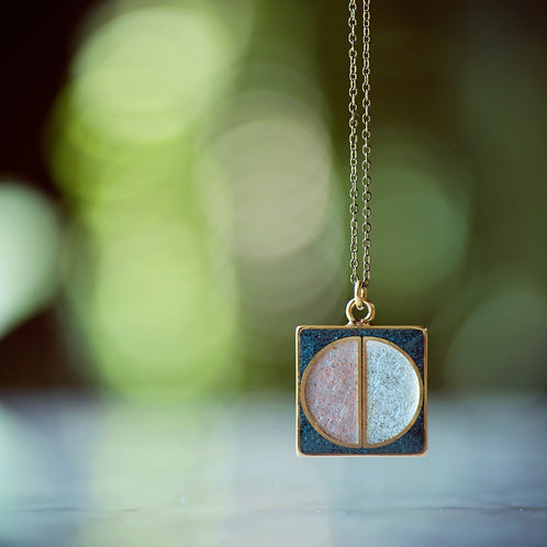 The Perfect Peace ~ Square Inlay necklace with Peach Selenite, Chrysocolla