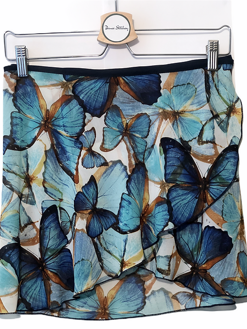 Ballet Wrap Skirt. Fun and floaty, with a flutter of blue and turquoise butterflies.