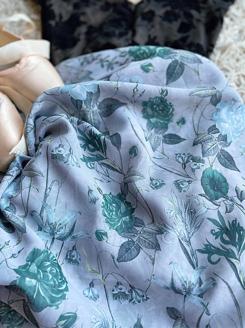 Ballet wrap skirt. Vintage green tea roses on a silvery grey background