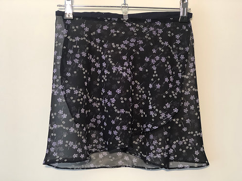 Ballet wrap skirt. Navy with tiny purple flowers. Fun and Floaty. Front View