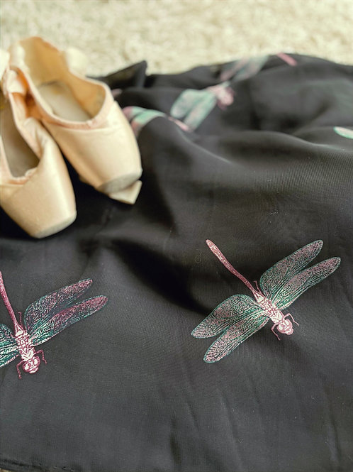 Ballet Wrap Skirt. Dragonflies dance on a very dark black. Shown with pointe shoes