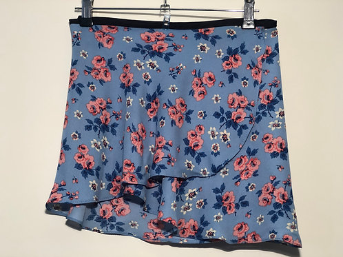 Ballet wrap skirt bright blue with pink flowers