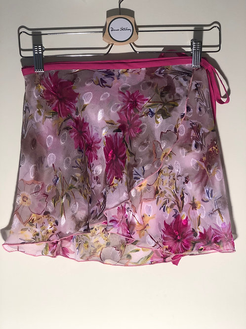 Ballet Wrap Skirt. Pink blousy flowers on floaty chiffon. This one has a cerise wasitband. It is customisable