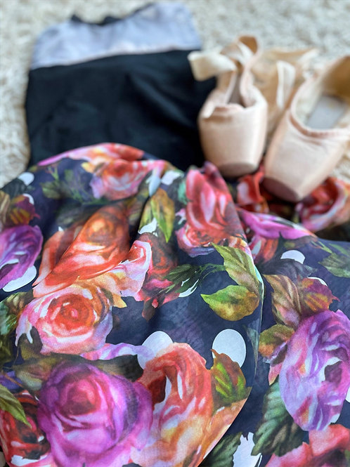 Ballet wrap skirt. Colourful tea roses on a very dark black background. With a leo and pointe shoes
