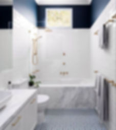 Bathroom with mixed patterns, navy white
