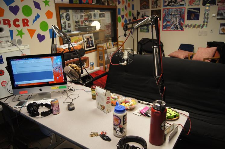 in the podcast studio