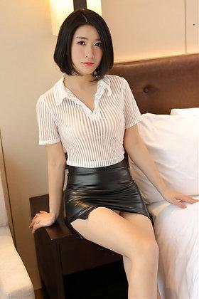 セクシー コスプレ 透けシャツ&ピッチリレザーミニスカート