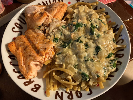 Salmon and Creamy Spinach Pasta