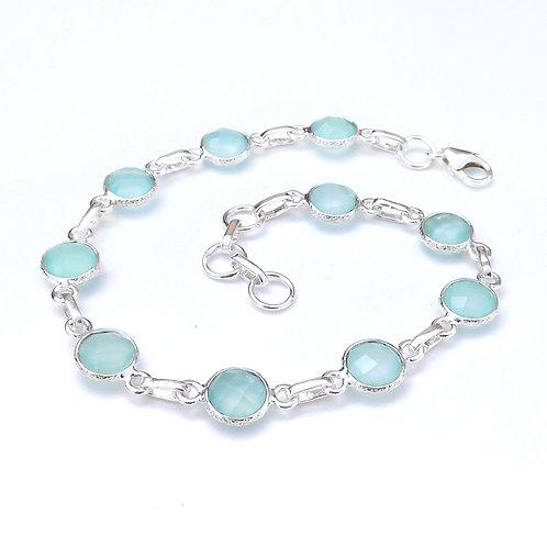 925 Sterling Silver Bezel Set Bracelet Briolette Gemstone Handmade Brace