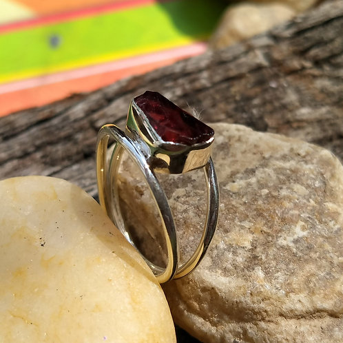 Rough Cut Garnet, 925 Sterling Silver Handmade Ring