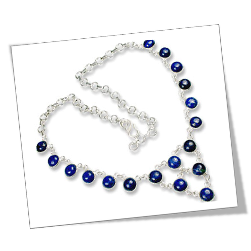 Sterling Silver Necklace with Blue Lapis Gemstone
