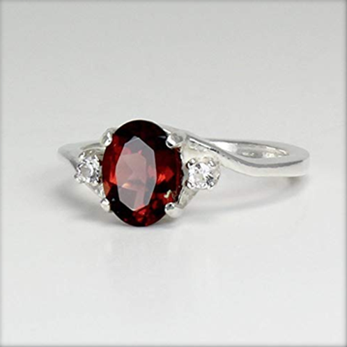 Garnet Sterling Silver Ring / Artistic Silver Jewelry