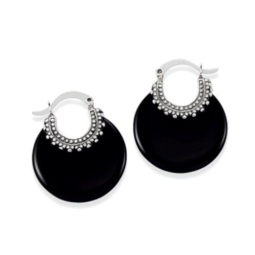 Genuine Black Onyx & 925 Sterling Silver Hoop Pierced Earrings