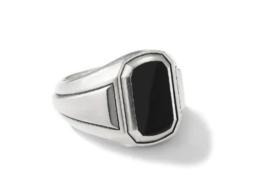 Signet Black Onyx in 925 Sterling Silver Ring