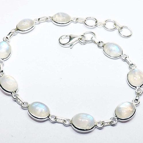 Rainbow Moonstone Bracelet 925 Sterling Silver