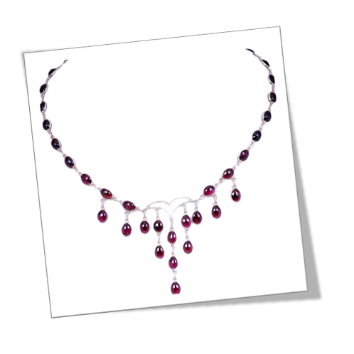 Sterling Silver Necklace with Garnet Gemstone
