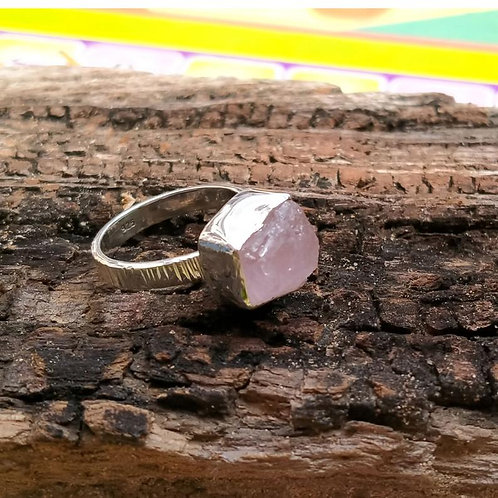 Morganite Rough Ring in 925 Sterling Silver