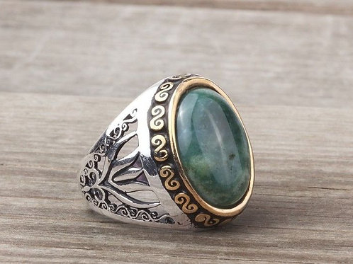 Jadeite in 925 Sterling Silver Ring